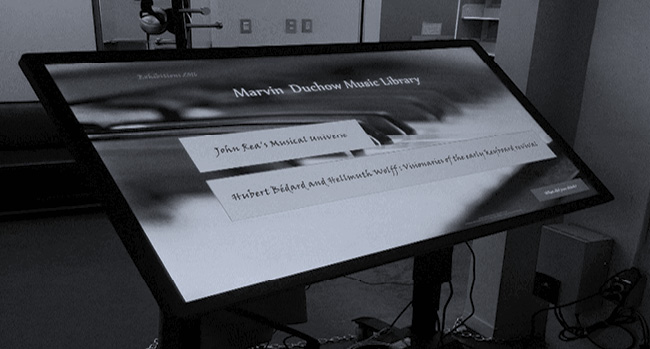 Figure 4. The opening screen for the Marvin Duchow Music Library touch table exhibition