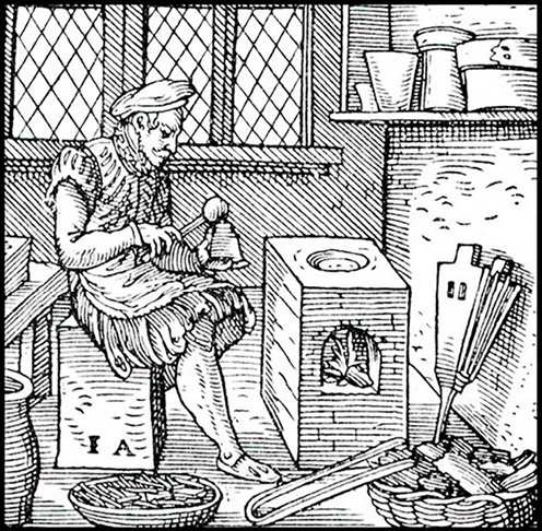 Figure 4. Der Schriftgiesser (or, The Typecaster), 1568. Source image used to produce a 3D modeled and resin printed woodcut